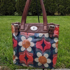 Fossil Key-Per Leather & Coated Canvas Floral Tote